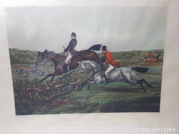 ESPECTACULAR GRABADO AL COBRE INGLES COLOREADO A MANO CAZA DEL ZORRO (Arte - Grabados - Modernos siglo XIX)