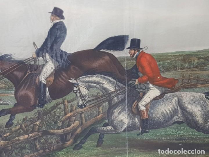 Arte: Espectacular Grabado al Cobre Ingles Coloreado a Mano Caza del Zorro - Foto 2 - 238838110