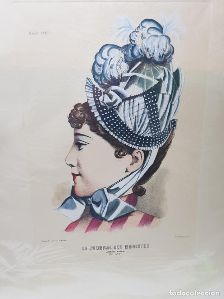 ESPECTACULAR GRABADO AL COBRE COLOREADO A MANO LE JOURNAL DES MODISTES (Arte - Grabados - Modernos siglo XIX)