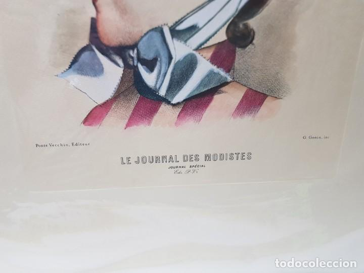 Arte: Espectacular Grabado al Cobre Coloreado a Mano Le Journal des Modistes - Foto 2 - 238840510