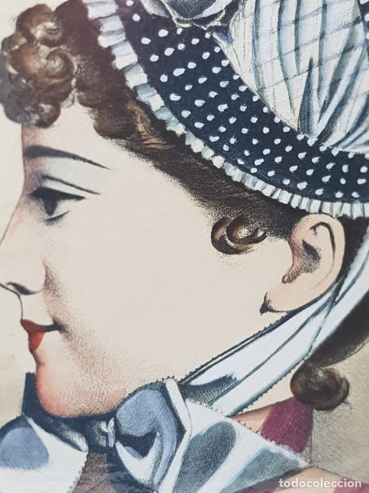 Arte: Espectacular Grabado al Cobre Coloreado a Mano Le Journal des Modistes - Foto 4 - 238840510