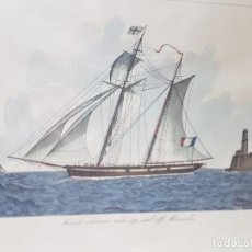 Arte: ESPECTACULAR GRABADO COLOREADO A MANO FRENCH SCHOONER. Lote 238841410