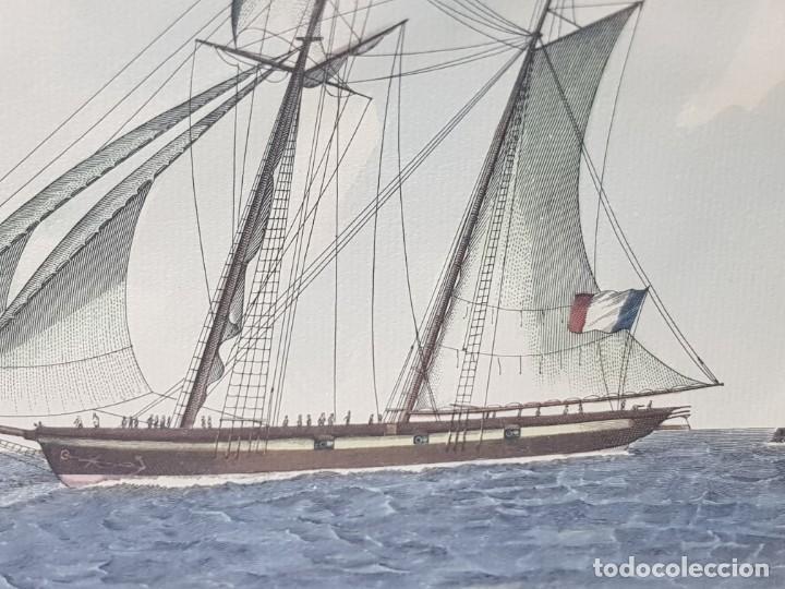 Arte: Espectacular Grabado Coloreado a Mano French Schooner - Foto 3 - 238841410