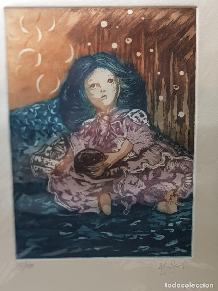 ESPECTACULAR GRABADO AL COBRE NUMERADO Y FIRMADO N SCOTT ACABADO A MANO (Arte - Grabados - Modernos siglo XIX)