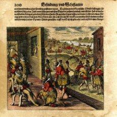Arte: AMÉRICA. THEODORO DE BRY. HOJA CON GRABADO ILUMINADO DE LA CONQUISTA. DE LA OBRA AMERICA..., 1617. Lote 239477070