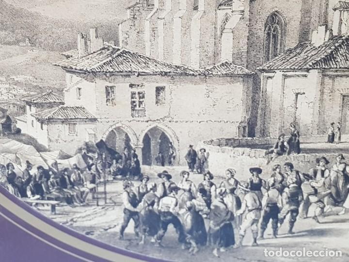 Arte: Grabado antiguo grande Paisaje Medieval en fiesta - Foto 3 - 239938295
