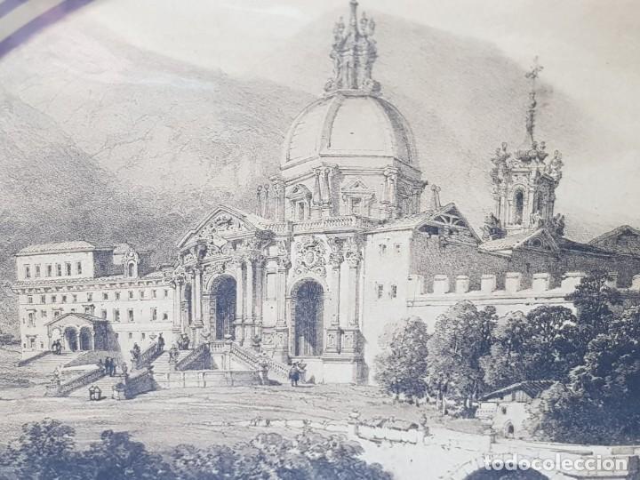 Arte: Grabado antiguo grande Paisaje Medieval Catedral - Foto 2 - 239938425