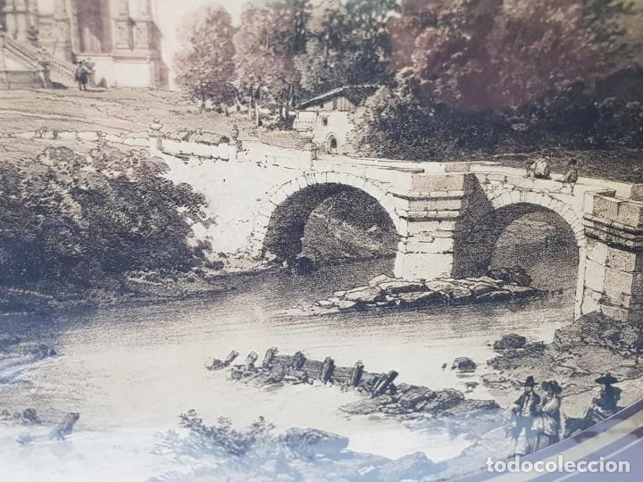 Arte: Grabado antiguo grande Paisaje Medieval Catedral - Foto 3 - 239938425
