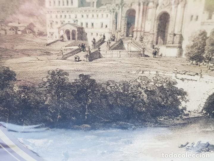Arte: Grabado antiguo grande Paisaje Medieval Catedral - Foto 4 - 239938425