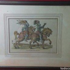 Arte: ANTIGUA GRABADO DEL ARTE DE LA GUERRA ENTRE CABALLEROS COLOREADO A MANO. Lote 240337555
