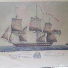 Arte: GRABADO ANTIGUO AL COBRE GRANDE FREGATA INGLESE OBRA DE FAMBRINI. Lote 241363585