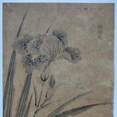 Arte: MAGISTRAL GRABADO JAPONÉS ORIGINAL, FINALES DEL XVIII, ESCUELA HOKUSAI, SUTILES FLORES, RARO. Lote 241381475
