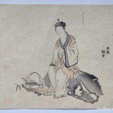 Arte: INTERESANTE GRABADO JAPONÉS ORIGINAL DEL SIGLO XIX, UKIYOE, RETRATO JOVEN REZANDO. Lote 241385135