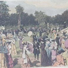 Arte: GRABADO ANTIGUO AL COBRE FRANCÉS COLOREADO A MANO LONGCHAMP DE F.GIUSTO. Lote 241385750