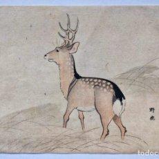 Arte: INTERESANTE GRABADO JAPONÉS ORIGINAL DEL SIGLO XIX, UKIYOE, CIERVO. Lote 241386955
