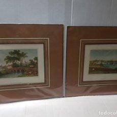 Arte: GRABADOS ANTIGUOS MEDIEVAL LOTE 2 ENMARCADOS EN CARTON. Lote 241441140