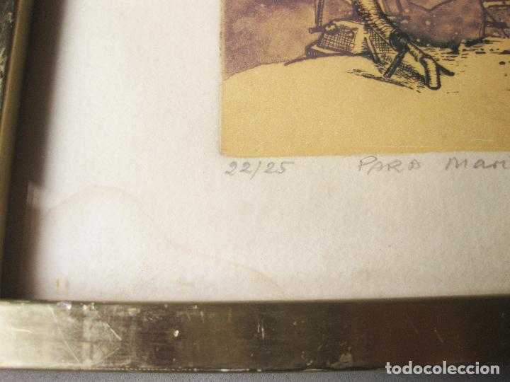 Arte: GRABADO O AGUAFUERTE DEL ARETISTA ANTONIO LORENZO CARRIÓN. PAISAJE LUNAR CON NAVE ESPACIAL. 1973 - Foto 3 - 241491675