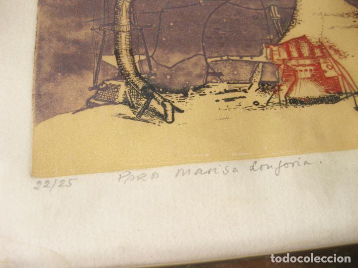 Arte: GRABADO O AGUAFUERTE DEL ARETISTA ANTONIO LORENZO CARRIÓN. PAISAJE LUNAR CON NAVE ESPACIAL. 1973 - Foto 4 - 241491675