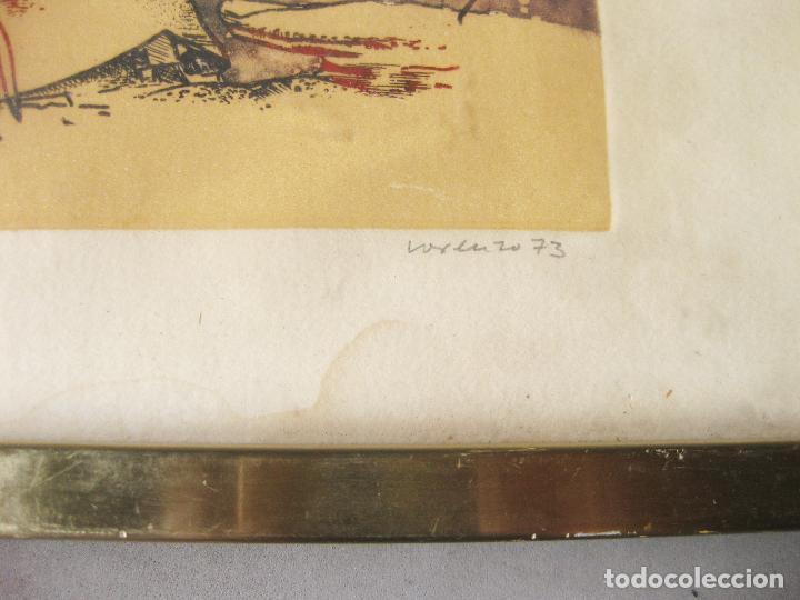 Arte: GRABADO O AGUAFUERTE DEL ARETISTA ANTONIO LORENZO CARRIÓN. PAISAJE LUNAR CON NAVE ESPACIAL. 1973 - Foto 5 - 241491675
