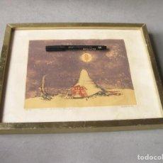 Arte: GRABADO O AGUAFUERTE DEL ARETISTA ANTONIO LORENZO CARRIÓN. PAISAJE LUNAR CON NAVE ESPACIAL. 1973. Lote 241491675
