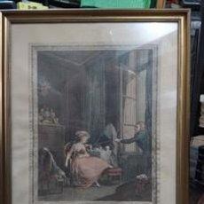 "Arte: GRABADO FRANCÉS ""L'AMOUR FRIVOLE"". 1770. Lote 241768120"