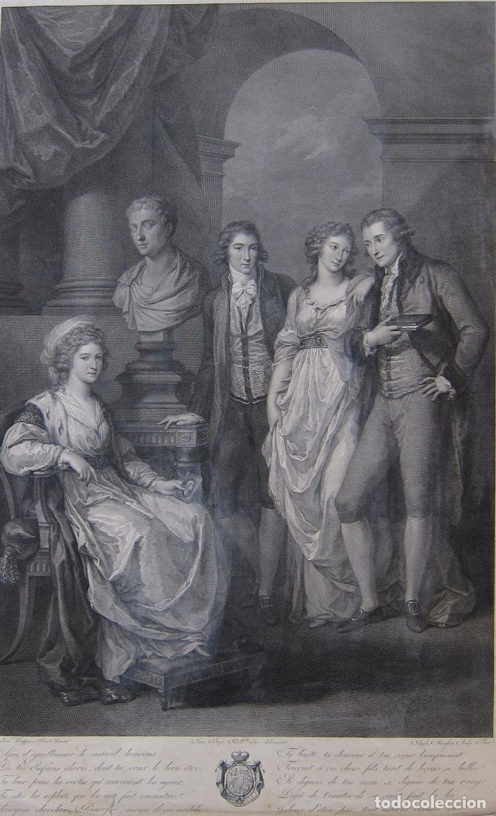 RAPHAEL MORGHEN. RETRATO DE LA FAMILIA DE LA PRINCESA BARIATINSKI, SEGÚN ANGELICA KAUFFMAN (Arte - Grabados - Antiguos hasta el siglo XVIII)
