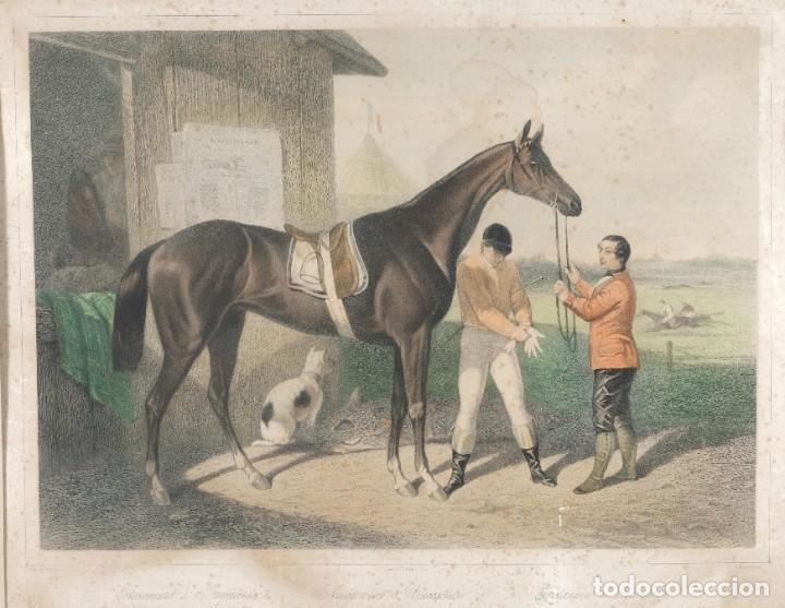 GRABADO DE UNA PINTURA DE COTTIN ESCENA ECUESTRE BETTANNIEN GRABADOR IMP.LEMERCIER PARIS (Arte - Grabados - Modernos siglo XIX)