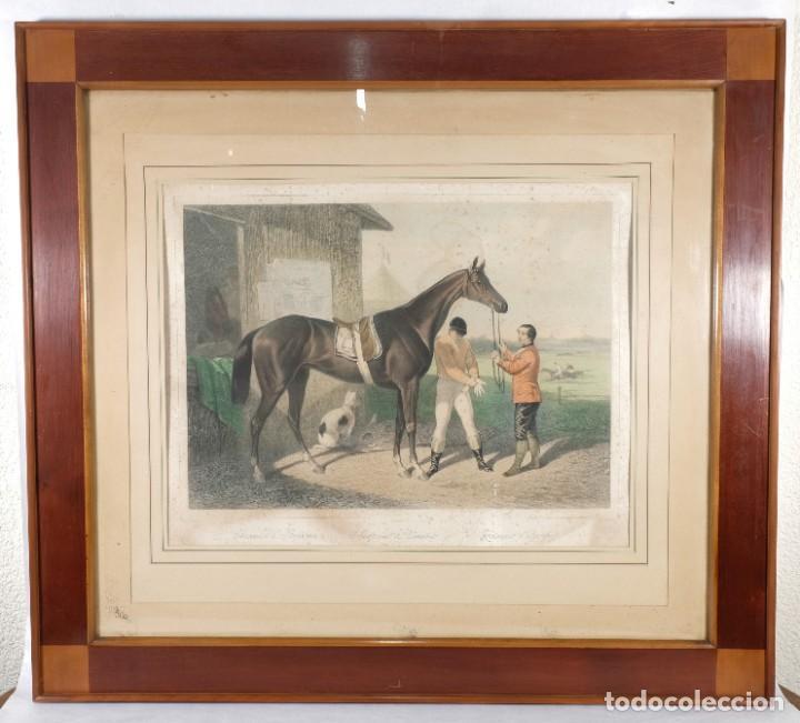 Arte: Grabado de una pintura de Cottin Escena ecuestre Bettannien grabador Imp.Lemercier Paris - Foto 2 - 242970715