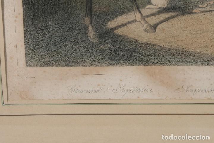 Arte: Grabado de una pintura de Cottin Escena ecuestre Bettannien grabador Imp.Lemercier Paris - Foto 4 - 242970715
