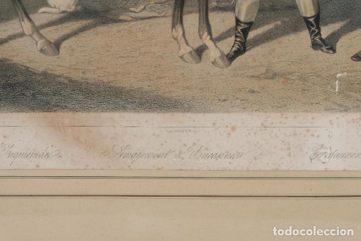 Arte: Grabado de una pintura de Cottin Escena ecuestre Bettannien grabador Imp.Lemercier Paris - Foto 5 - 242970715