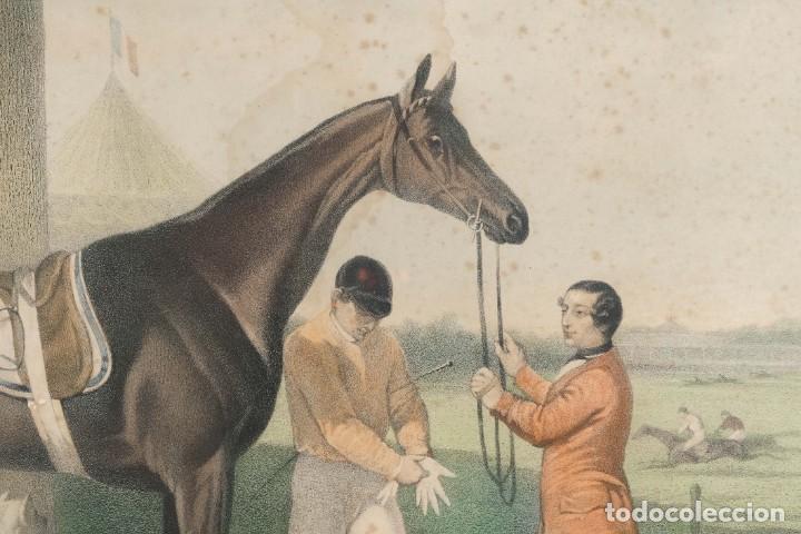 Arte: Grabado de una pintura de Cottin Escena ecuestre Bettannien grabador Imp.Lemercier Paris - Foto 7 - 242970715
