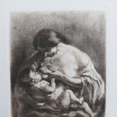 "Art: GRABADO"" MATERNIDAD"" RICART CANALS. Lote 243417975"