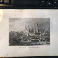Arte: GRABADO DE SANTIAGO DE COMPOSTELA GALICA, HUELLA 9,5 X 15 CM. CH. LALAISSE SC.. Lote 243617490