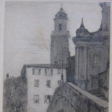 Arte: EARL STETSON CRAWFORD. LES ESCALIERS, MENTON, FRANCIA. FIRMADO Y FECHADO, 1938. GRABADO. Lote 244006950