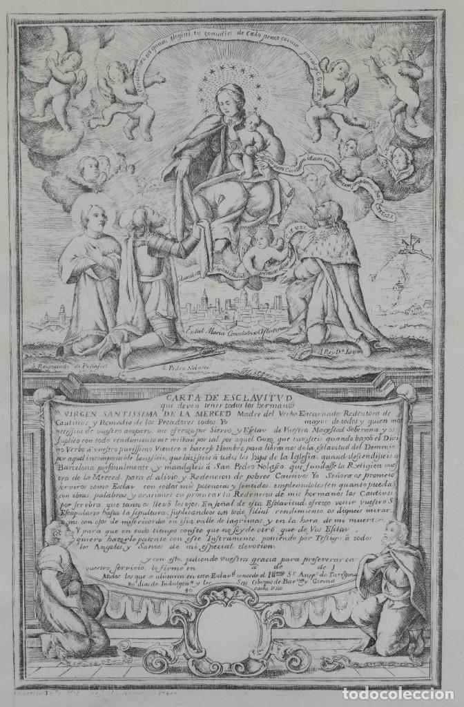 Arte: Grabado religioso Carta de esclavitud Virgen Santissima de la Merced 1740 - Foto 2 - 244007250