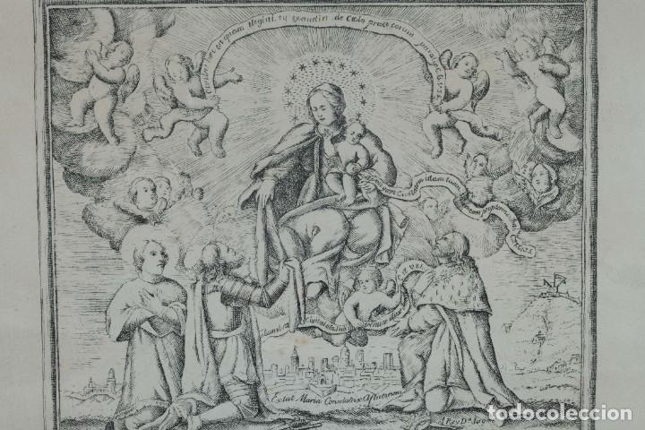 Arte: Grabado religioso Carta de esclavitud Virgen Santissima de la Merced 1740 - Foto 3 - 244007250
