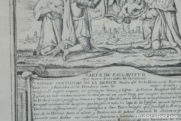 Arte: Grabado religioso Carta de esclavitud Virgen Santissima de la Merced 1740 - Foto 4 - 244007250