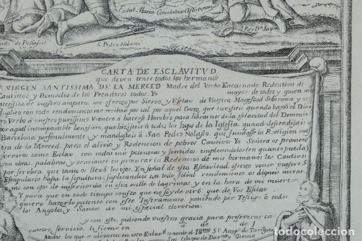 Arte: Grabado religioso Carta de esclavitud Virgen Santissima de la Merced 1740 - Foto 5 - 244007250