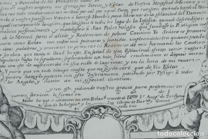 Arte: Grabado religioso Carta de esclavitud Virgen Santissima de la Merced 1740 - Foto 6 - 244007250