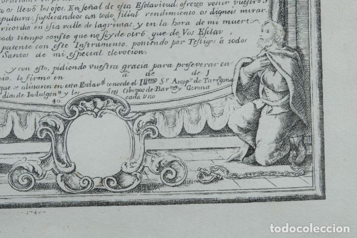 Arte: Grabado religioso Carta de esclavitud Virgen Santissima de la Merced 1740 - Foto 7 - 244007250