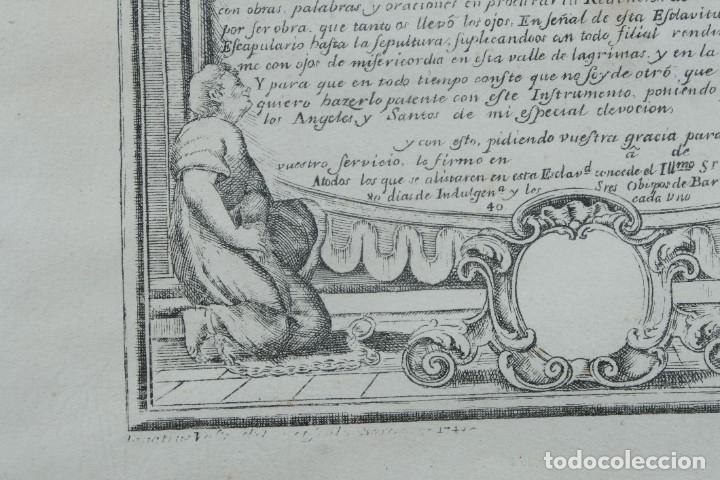 Arte: Grabado religioso Carta de esclavitud Virgen Santissima de la Merced 1740 - Foto 8 - 244007250