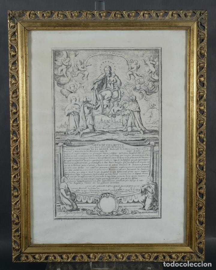 GRABADO RELIGIOSO CARTA DE ESCLAVITUD VIRGEN SANTISSIMA DE LA MERCED 1740 (Arte - Grabados - Antiguos hasta el siglo XVIII)