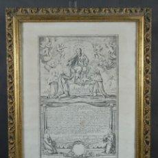 Arte: GRABADO RELIGIOSO CARTA DE ESCLAVITUD VIRGEN SANTISSIMA DE LA MERCED 1740. Lote 244007250