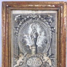 Arte: IMPORTANTE GRABADO AUTÉNTICO S. XVIII - VENIDA DE NUESTRA SEÑORA DEL PILAR A ZARAGOZA MARCO PAN ORO. Lote 244016665