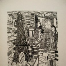 Arte: JORDI CURÓS, GRABADO 26 X 35 CM. PRUEBA DE ARTISTA. PARIS. FIRMADO.. Lote 244462400