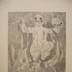 Arte: JORDI CURÓS, GRABADO 25 X 35 CM. PRUEBA DE ARTISTA. AUCA D'EN CURÓS. FIRMADO Y FECHADO 1974.. Lote 244462555