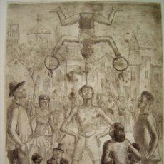 Arte: SALTIMBANQUIS O ACRÓBATAS.GRABADO POR MANUEL LAHOZ VALLE.. Lote 244838170