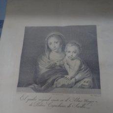 Arte: VIRGEN CON EL NIÑO DE MURILLO (24, 5X22, 5 CM) GRABADO POR BLAS AMETLLER ( 1768-1841) MUY BONITO. Lote 245059530