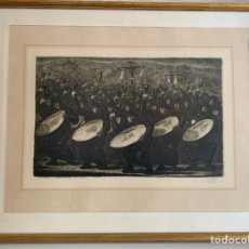 Arte: AGUAFUERTE . MANUEL LAHOZ. TAMBORES DE SEMANA SANTA . CALANDA. 1970. Lote 245287080