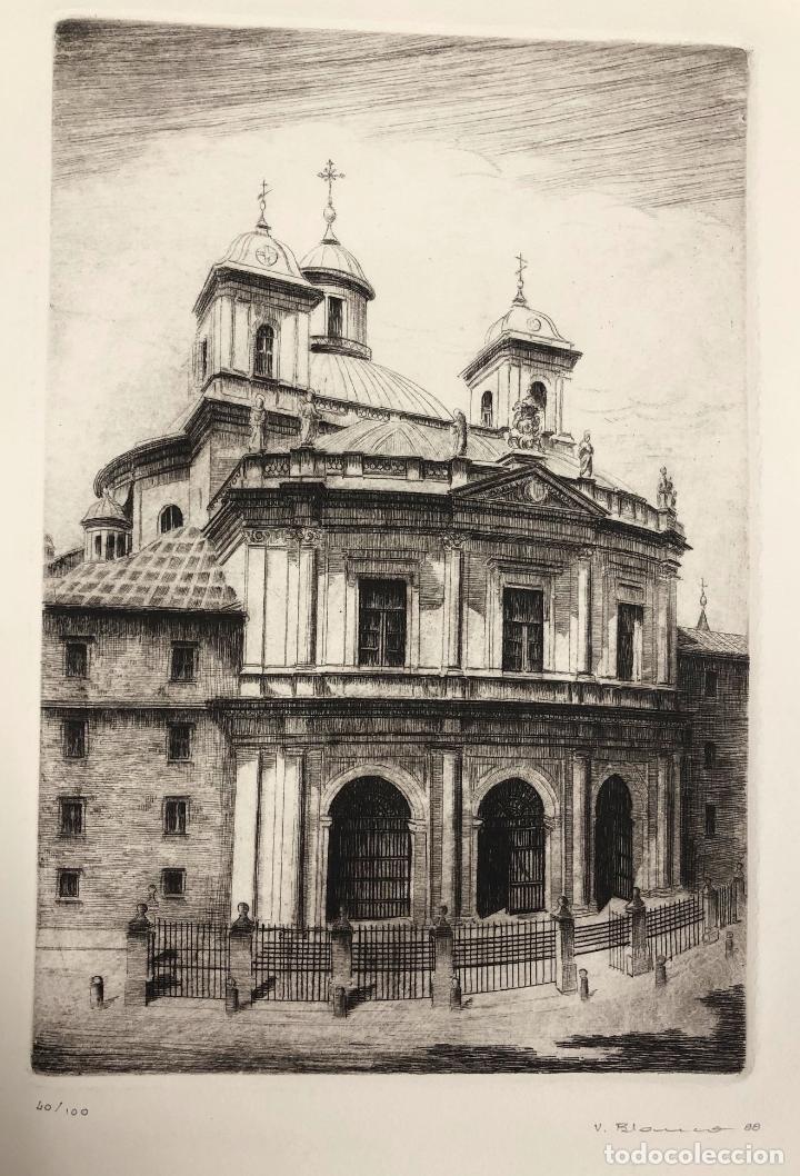 Arte: GRABADO CALCOGRAFICO REAL BASILICA SAN FRANCISCO EL GRANDE. MADRID. V. BLANCO. AÑO 1988 - Foto 2 - 245414275